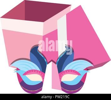 mask and gift box carnival festival vector illustration - Stock Photo