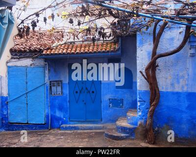Blue house in Chefchaouen Morocco - Stock Photo