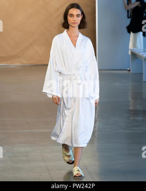 NEW YORK, NY - September 06, 2018: Luiza Scandelari walks the runway during rehearsal for the Noon by Noor Spring Summer 2019 fashion show during New  - Stock Photo