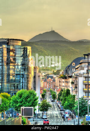 View of Puy de Dome volcano from Clermont-Ferrand city in France - Stock Photo