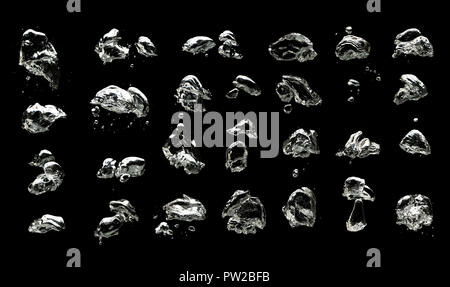 Set of many different air bubbles in the water isolated on black background - Stock Photo