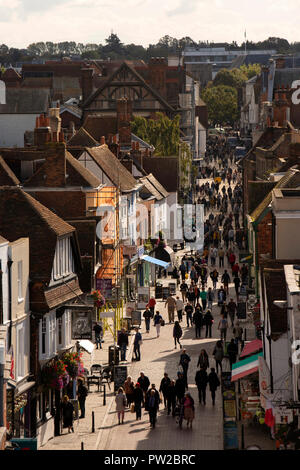 UK, Kent, Canterbury, elevated view of visitors in pedestrianised High Street - Stock Photo