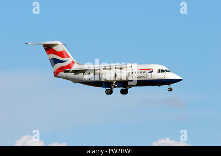 British Airways British Aerospace BAe 146-100 London Stansted aiport - Stock Photo
