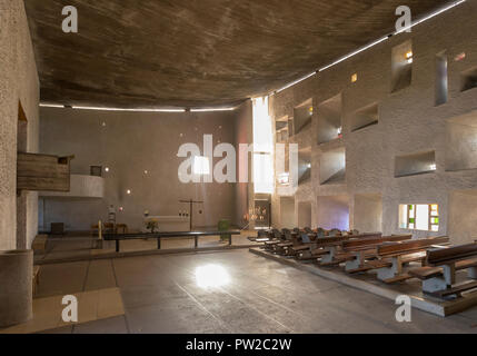 Interior view of Notre-Dame du Haut, chapel at Ronchamp, France, by architect Le Corbusier, finished in 1955.