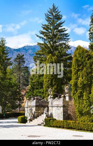 Beautiful park in Peles castle, Sinaia, Romania - Stock Photo