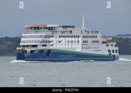 Wightlink's latest hybrid fuel ferry the Victoria of Wight seen operating the Portsmouth to Isle of Wight ferry service across the solent - Stock Photo