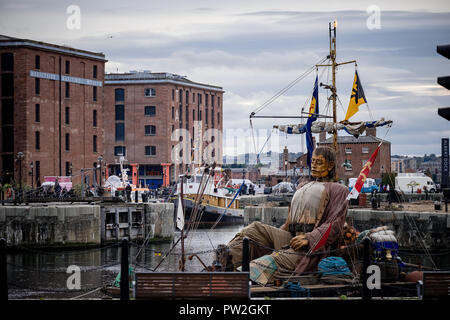 October, 2018. Liverpool, UK. For the last time anywhere in the world the 'Giants' take to the streets of Liverpool as part of 'Liverpool's Dream'. - Stock Photo