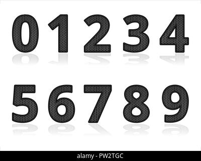 Set of Metal Digital Numbers. Industrial Elements with Shadow as Techno Pattern - Stock Photo