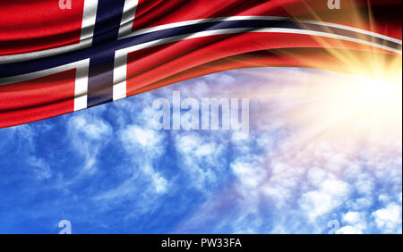 the flag of Norway in the rays of the summer sun, in the sky, photography has a good place for your text. - Stock Photo