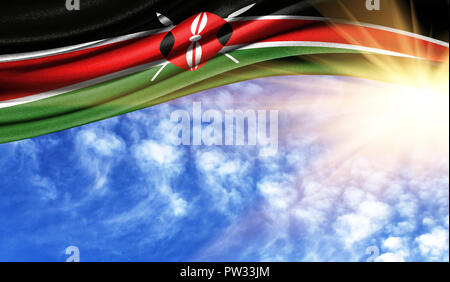 the flag of Kenya in the rays of the summer sun, in the sky, photography has a good place for your text. - Stock Photo