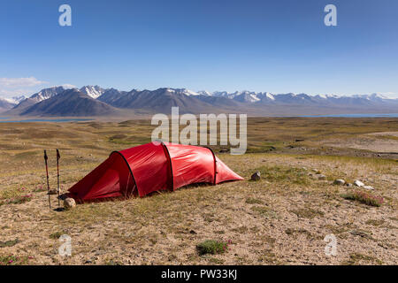 Backcountry Campsite Afghan Tajik Border With Great Pamir And Concord Mt In Background