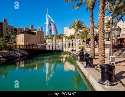 Medinat Jumeirah Resort and Burj Al Arab Luxury Hotel, Dubai, United Arab Emirates - Stock Photo