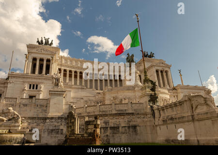 The Altar of the Fatherland is a monument built in honor of Victor Emmanuel, the first king of a unified Italy, located in Rome, Italy. - Stock Photo