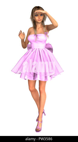 Teen anime style girl in pink dress, looking at something, isolated on white. 3D rendering. - Stock Photo