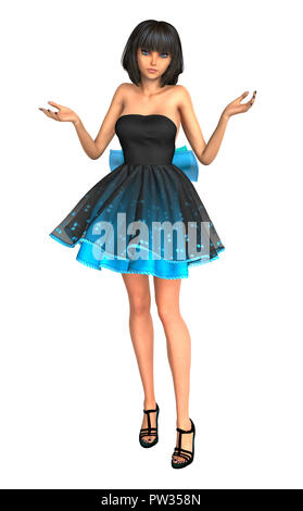 Teen anime style girl shrugging, isolated on white. 3D rendering. - Stock Photo