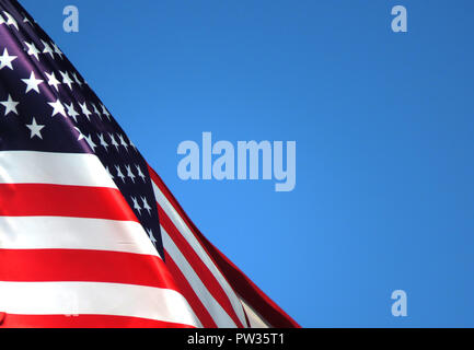 Realistic flag of America on the wavy surface of fabric. This flag can be used in design - Stock Photo