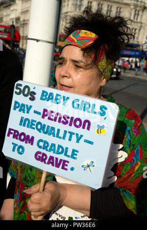 Women born in the 1950s held a Day of Action on October 10th 2018 in central London to draw attention to the women affected by the rise of the state p - Stock Photo