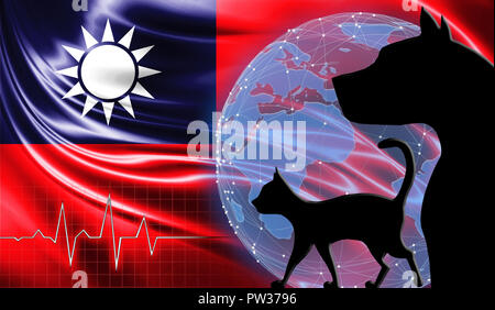 Black cat and dog on the background of the flag of Taiwan. Emergency help for pets. Vet clinic.