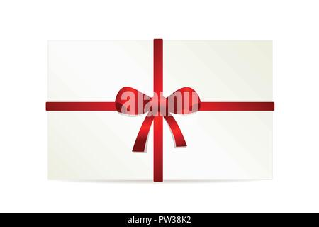white gift card with a red bow isolated on white background vector illustration EPS10 - Stock Photo