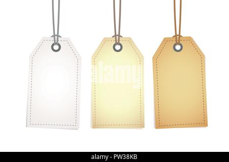 set of blank hanging gift box tags or sale shopping labels vector illustration EPS10 - Stock Photo
