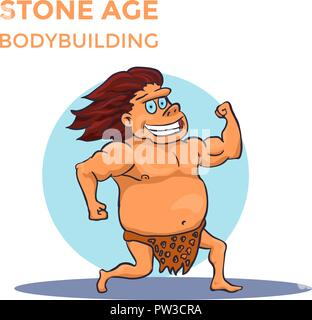Hand Drawn Cartoon Stone Age Cave Man Shows His Biceps. Vector - Stock Photo