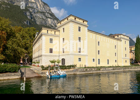 south-eastern side of fortress called 'la Rocca' at historical little town on shore of Garda lake, shot in bright fall light at Riva del Garda, Trento - Stock Photo