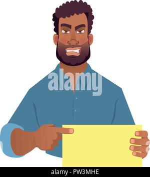 African man holding blank card. African american man pointing finger at card. Vector illustration - Stock Photo