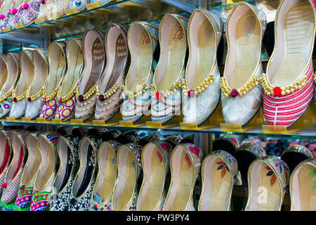 India, Punjab, Amritsar, traditional Indian slippers for sale - Stock Photo