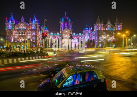 India, Mumbai, Maharashtra, Chhatrapati Shivaji Maharaj Terminus railway station (CSMT), (formerly Victoria Terminus), UNESCO World Heritage Site - Stock Photo