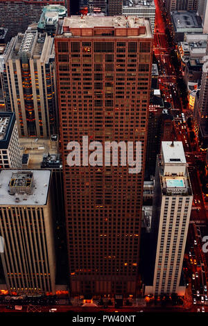 Aerial image of downtown Chicago before sunset overlooking skyscrapers - Stock Photo