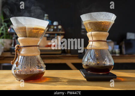 Close-up of brewing coffee process - Stock Photo