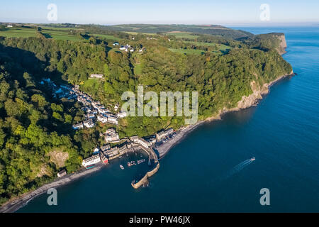 Aerial elevated view over Clovelly on the North Devon coast, Devon, United Kingdom - Stock Photo