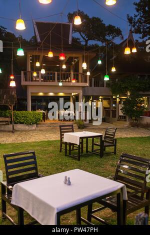 Outdoor cafe in luxury resort on Koh Kood island, Thailand - Stock Photo