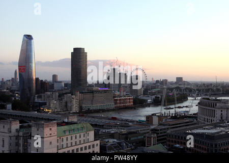Panorama of London taken at dusk from the Stone Gallery of St. Paul's Cathedral London England - Stock Photo