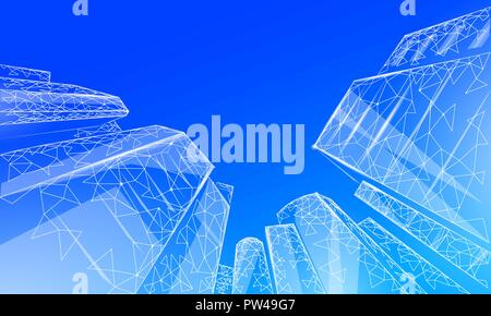Polygonal low angle business modern glass buildings. Skyscrapers high rise reach sky city scenery. Finance banking futuristic office concept. Gigantic smart house from below vector illustration - Stock Photo