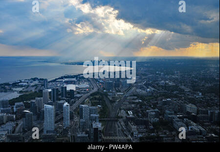 Around Canada - View Towards New Toronto from the CN Tower - Stock Photo