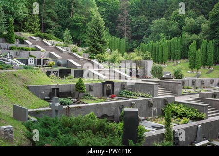 Vilnius cemetery, view of the well-tended Antakalnis Cemetery on the outskirts of Vilnius, Lithuania. - Stock Photo