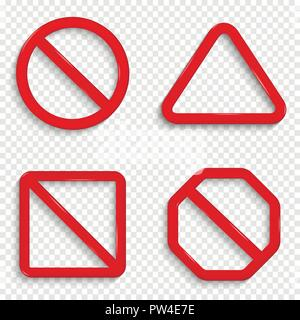 No signs. Forbidden red signs isolated on transparent background. - Stock Photo