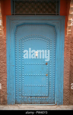 Traditional Blue Door, Marrakech, Morocco - Stock Photo