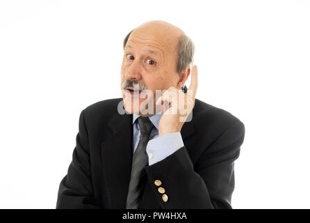 Portrait of business senior man in his 60s thinking in executive decision or next move in Work problems and retirement concept isolated on white backg - Stock Photo