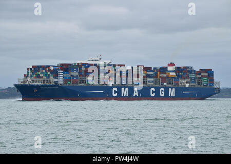 Container Ship CMA CGM Georg Forster seen heading out of the Solent after visiting the port of Southampton - Stock Photo