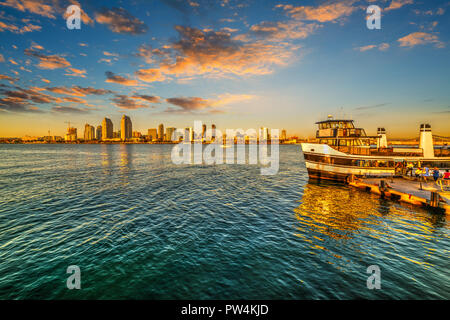 Ferry boat in San Diego at sunset, California - Stock Photo