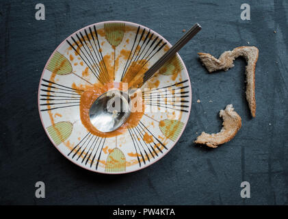 Overhead view of leftovers on table - Stock Photo