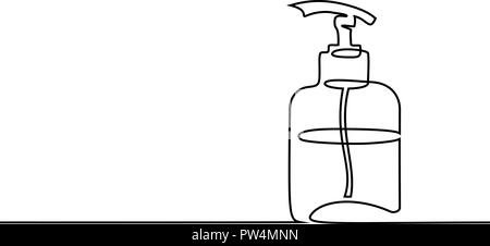 Continuous one line drawing. Cosmetic shampoo bottle. Vector illustration - Stock Photo
