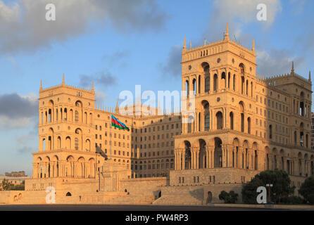 Azerbaijan, Baku, House of Government, Freedom Square, - Stock Photo