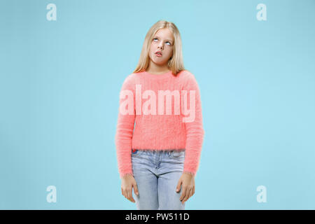 I am tired of everything. Bored woman. Boring, dull, tedious concept. Young pretty caucasian emotional girl. Human emotions, facial expression concept. Studio Isolated on trendy background - Stock Photo