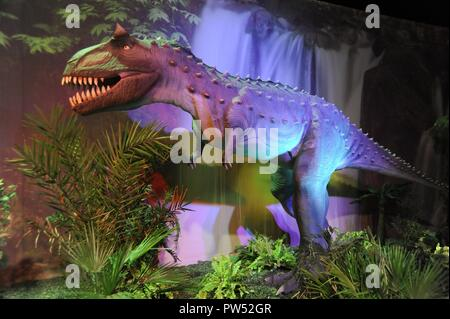 Milan (Italy), exhibition of prehistoric animals reproduced in full size; Carnotaurus (Carnotaurus sastrei) - Stock Photo