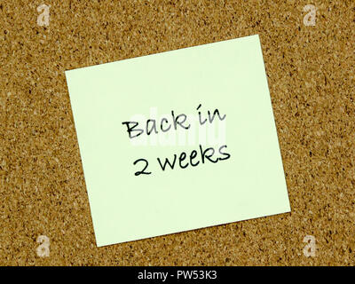 A yellow sticky note with back in 2 weeks written on it on a cork board background - Stock Photo