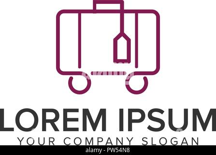 Travel Bag minimalist line logo design concept template. - Stock Photo