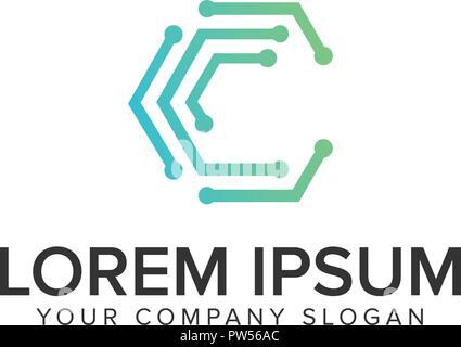 Letter C internet dot logo design concept template. - Stock Photo